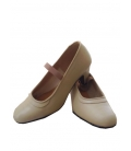 Flamenco Shoes Beige Leather with Nails