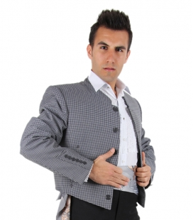 Flamenco jacket with features grey squares