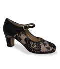 Professional flamenco shoes black and white with lace