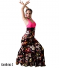 Flamenco Dance Skirt - Mod Carmen - Flower Printed
