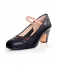 Leather Dancing Shoes, black with red detail