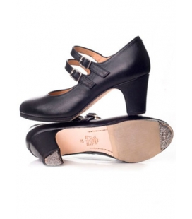 Leather flamenco shoes with double strap and buckle, model 5