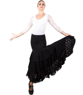 Lace Flamenco Skirt For Dance black s